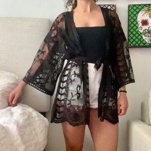 Farrow Black Casis Sheer Lace Kimono - M